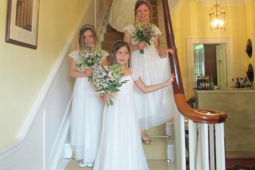 Bridesmaids on the main stairs